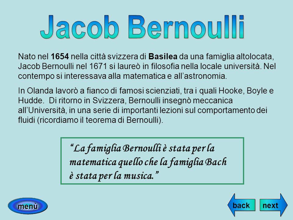 Nato nel 1654 nella città svizzera di Basilea da una famiglia altolocata, Jacob Bernoulli nel 1671 si laureò in filosofia nella locale università. Nel