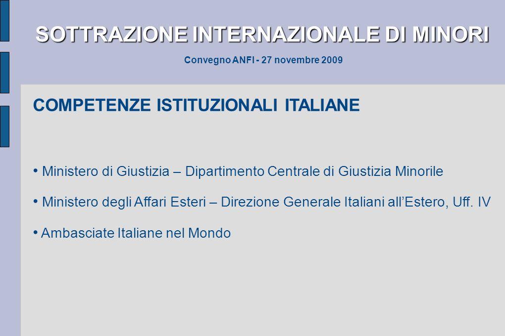 SOTTRAZIONE INTERNAZIONALE DI MINORI SOTTRAZIONE INTERNAZIONALE DI MINORI Convegno ANFI - 27 novembre 2009 COMPETENZE ISTITUZIONALI ITALIANE Ministero