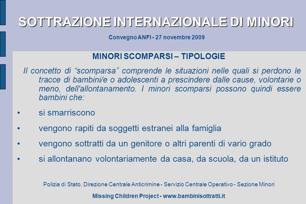 SOTTRAZIONE INTERNAZIONALE DI MINORI SOTTRAZIONE INTERNAZIONALE DI MINORI Convegno ANFI - 27 novembre 2009 MINORI SCOMPARSI – TIPOLOGIE Il concetto di