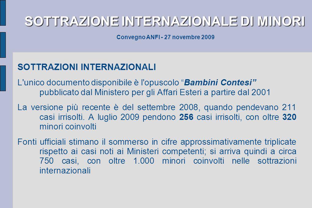 SOTTRAZIONE INTERNAZIONALE DI MINORI SOTTRAZIONE INTERNAZIONALE DI MINORI Convegno ANFI - 27 novembre 2009 SOTTRAZIONI INTERNAZIONALI L'unico document
