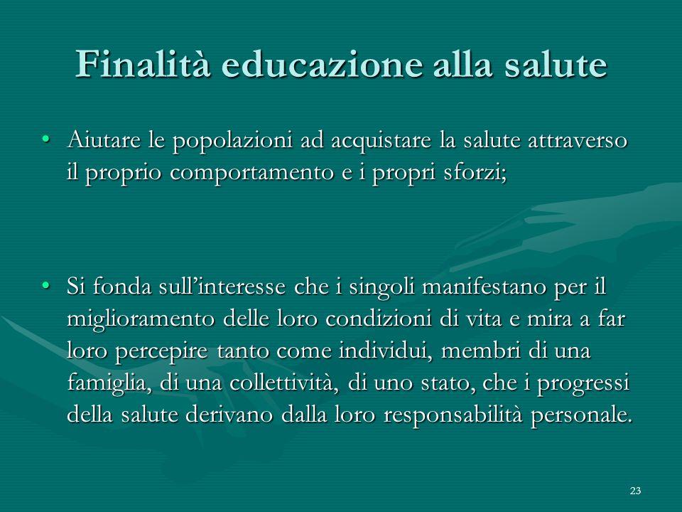 23 Finalità educazione alla salute Aiutare le popolazioni ad acquistare la salute attraverso il proprio comportamento e i propri sforzi;Aiutare le pop