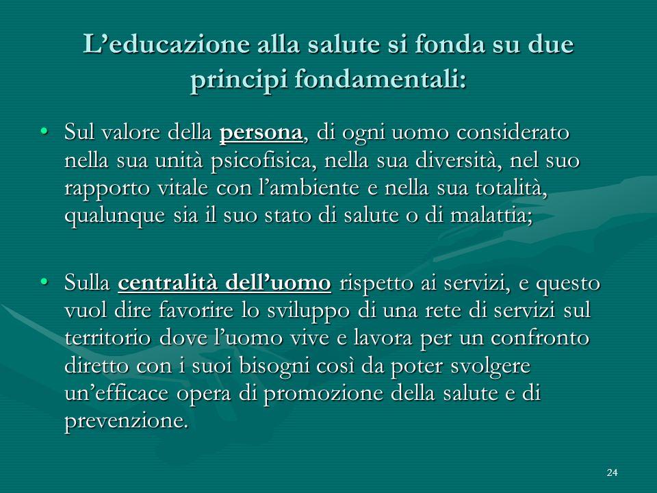 24 Leducazione alla salute si fonda su due principi fondamentali: Sul valore della persona, di ogni uomo considerato nella sua unità psicofisica, nell
