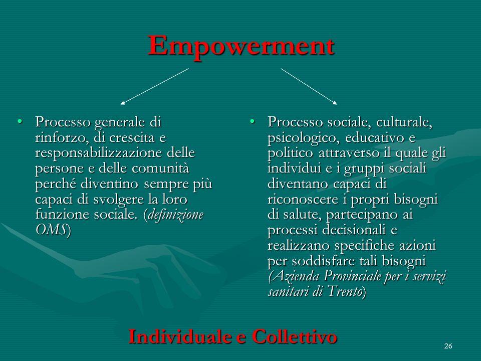 26 Empowerment Processo generale di rinforzo, di crescita e responsabilizzazione delle persone e delle comunità perché diventino sempre più capaci di