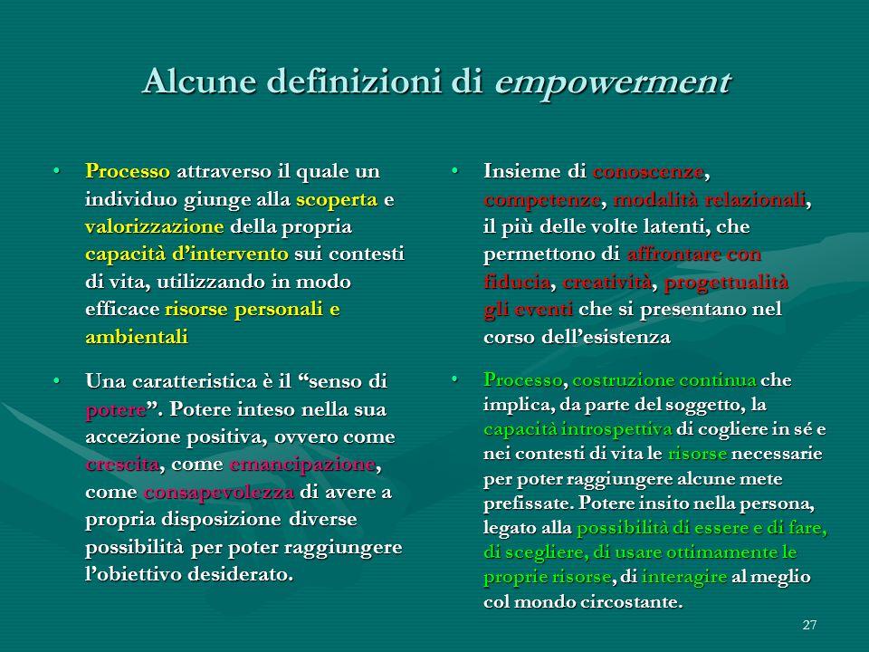 27 Alcune definizioni di empowerment Processo attraverso il quale un individuo giunge alla scoperta e valorizzazione della propria capacità dintervent