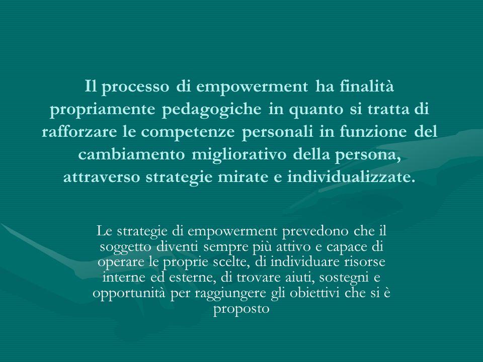 Il processo di empowerment ha finalità propriamente pedagogiche in quanto si tratta di rafforzare le competenze personali in funzione del cambiamento