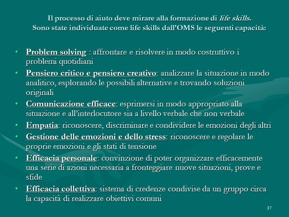 37 Il processo di aiuto deve mirare alla formazione di life skills. Sono state individuate come life skills dallOMS le seguenti capacità: Il processo