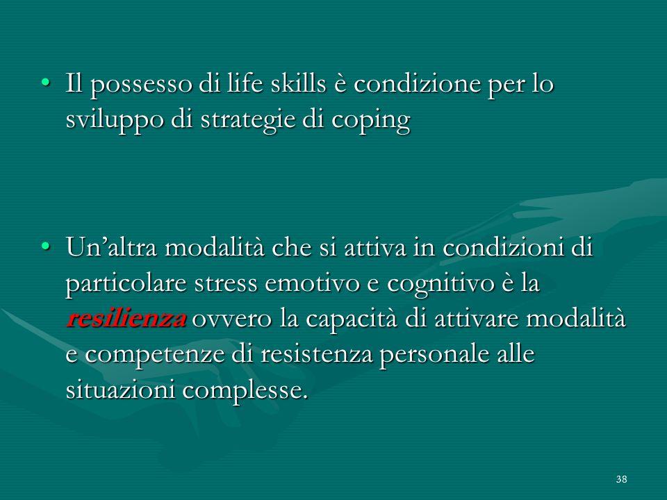 38 Il possesso di life skills è condizione per lo sviluppo di strategie di copingIl possesso di life skills è condizione per lo sviluppo di strategie