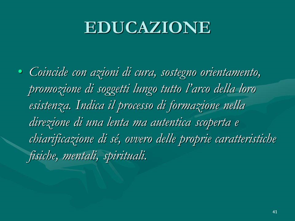 41 EDUCAZIONE Coincide con azioni di cura, sostegno orientamento, promozione di soggetti lungo tutto larco della loro esistenza. Indica il processo di