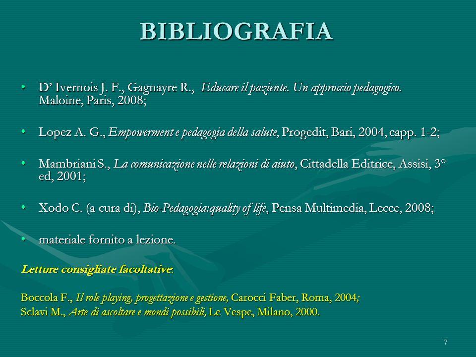 7 BIBLIOGRAFIA D Ivernois J. F., Gagnayre R., Educare il paziente. Un approccio pedagogico. Maloine, Paris, 2008;D Ivernois J. F., Gagnayre R., Educar