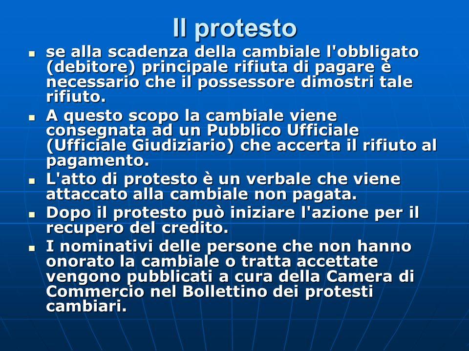 Il protesto se alla scadenza della cambiale l'obbligato (debitore) principale rifiuta di pagare è necessario che il possessore dimostri tale rifiuto.