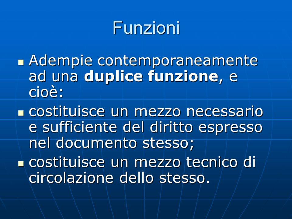 Funzioni Adempie contemporaneamente ad una duplice funzione, e cioè: Adempie contemporaneamente ad una duplice funzione, e cioè: costituisce un mezzo