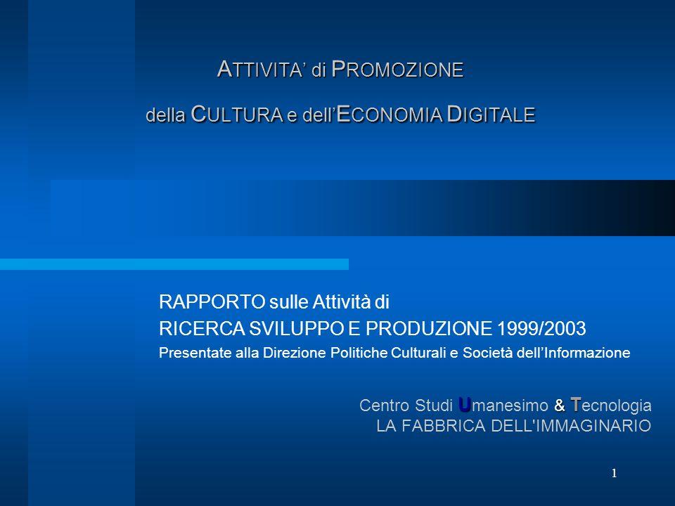 1 A TTIVITA di P ROMOZIONE della C ULTURA e dell E CONOMIA D IGITALE RAPPORTO sulle Attività di RICERCA SVILUPPO E PRODUZIONE 1999/2003 Presentate all