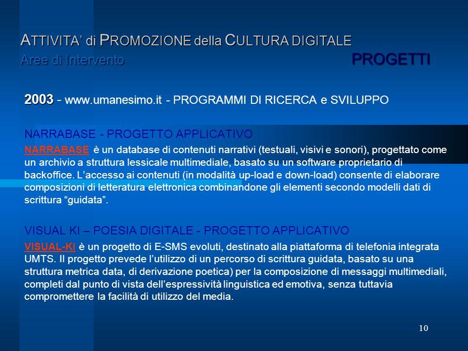 10 A TTIVITA di P ROMOZIONE della C ULTURA DIGITALE Aree di Intervento PROGETTI 2003 2003 - www.umanesimo.it - PROGRAMMI DI RICERCA e SVILUPPO NARRABA