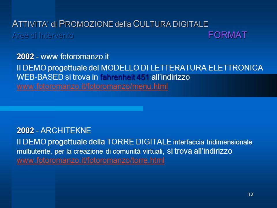 12 A TTIVITA di P ROMOZIONE della C ULTURA DIGITALE Aree di Intervento FORMAT 2002 2002 - www.fotoromanzo.it fahrenheit 451 Il DEMO progettuale del MO