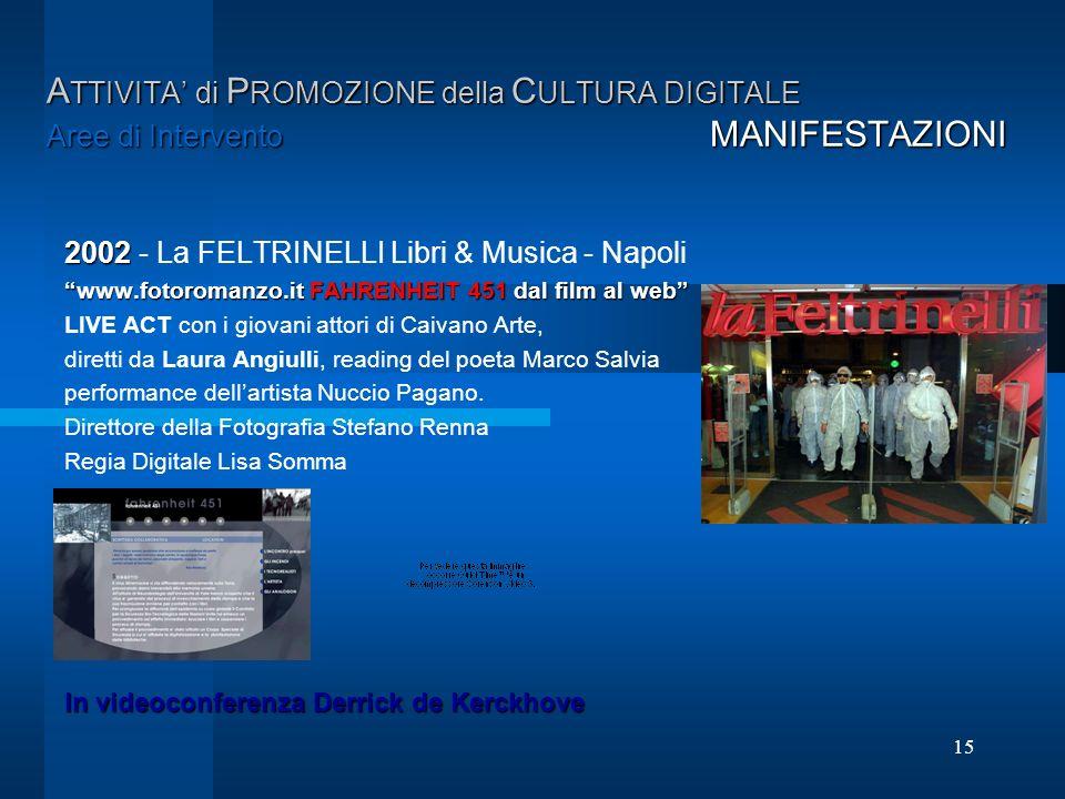 15 A TTIVITA di P ROMOZIONE della C ULTURA DIGITALE Aree di Intervento MANIFESTAZIONI 2002 2002 - La FELTRINELLI Libri & Musica - Napoli www.fotoroman
