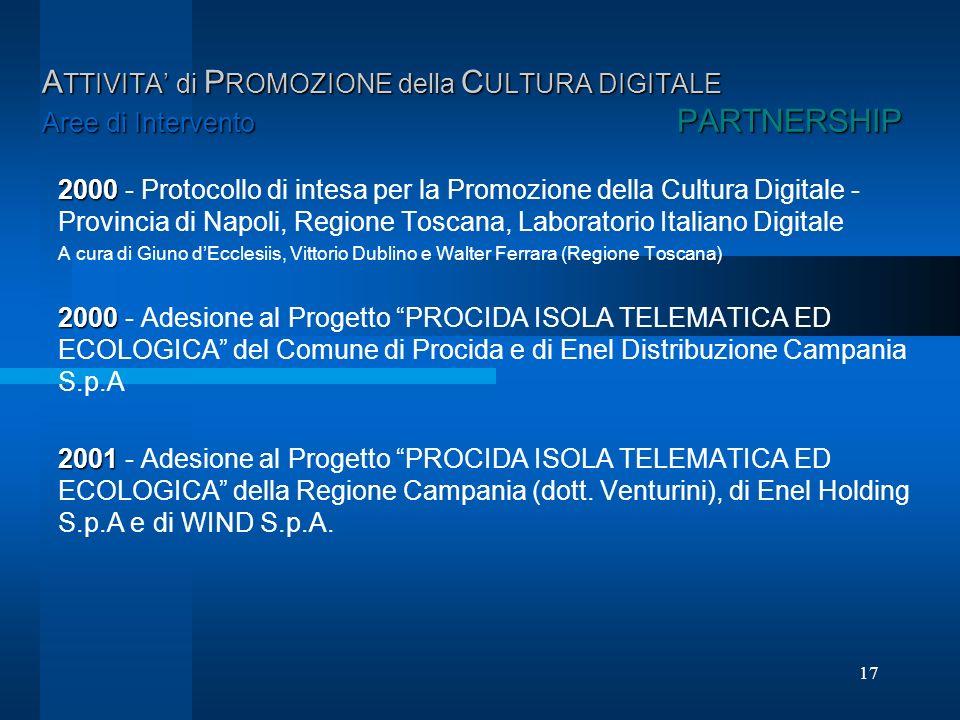17 A TTIVITA di P ROMOZIONE della C ULTURA DIGITALE Aree di Intervento PARTNERSHIP 2000 2000 - Protocollo di intesa per la Promozione della Cultura Di
