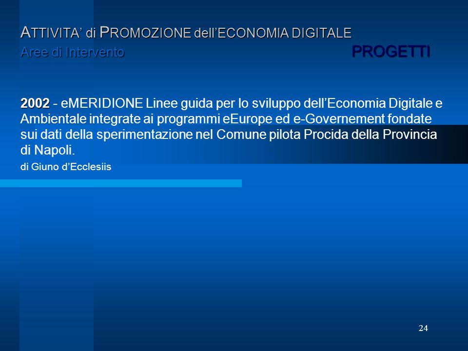 24 A TTIVITA di P ROMOZIONE dellECONOMIA DIGITALE Aree di Intervento PROGETTI 2002 2002 - eMERIDIONE Linee guida per lo sviluppo dellEconomia Digitale