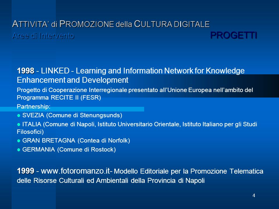 4 A TTIVITA di P ROMOZIONE della C ULTURA DIGITALE Aree di Intervento PROGETTI 1998 1998 - LINKED - Learning and Information Network for Knowledge Enh