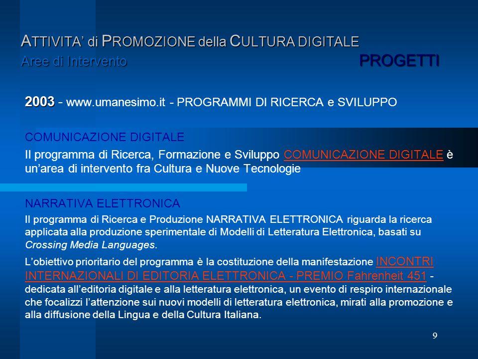 9 A TTIVITA di P ROMOZIONE della C ULTURA DIGITALE Aree di Intervento PROGETTI 2003 2003 - www.umanesimo.it - PROGRAMMI DI RICERCA e SVILUPPO COMUNICA
