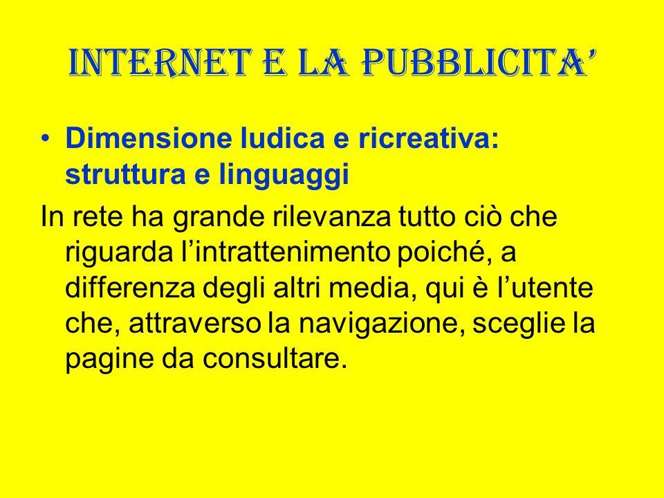 INTERNET E LA PUBBLICITA Dimensione ludica e ricreativa: struttura e linguaggi In rete ha grande rilevanza tutto ciò che riguarda lintrattenimento poi