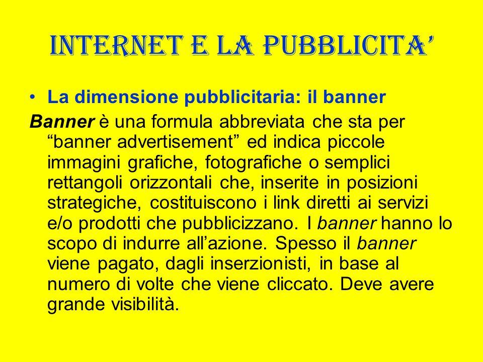 INTERNET E LA PUBBLICITA La dimensione pubblicitaria: il banner Banner è una formula abbreviata che sta per banner advertisement ed indica piccole imm