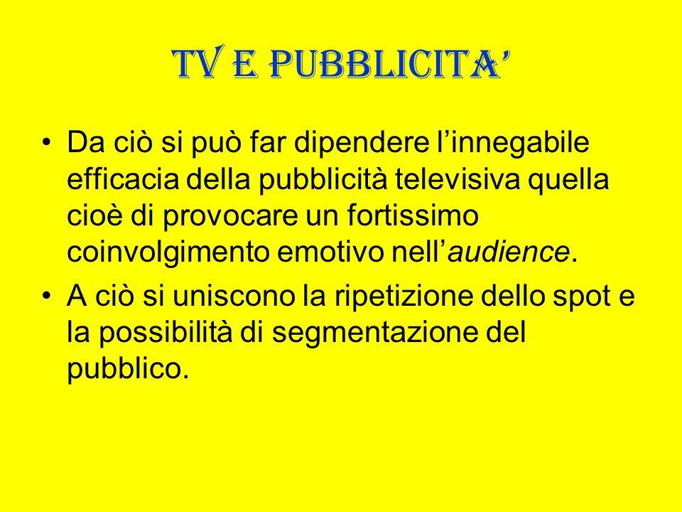 TV E PUBBLICITA Da ciò si può far dipendere linnegabile efficacia della pubblicità televisiva quella cioè di provocare un fortissimo coinvolgimento em