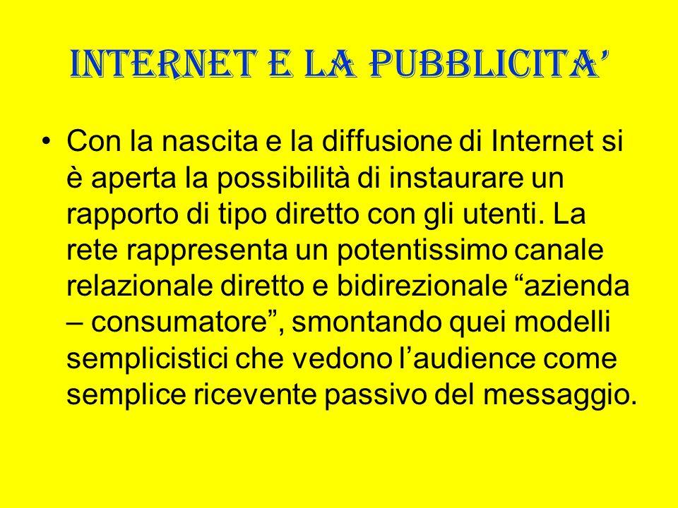 INTERNET E LA PUBBLICITA Con la nascita e la diffusione di Internet si è aperta la possibilità di instaurare un rapporto di tipo diretto con gli utent