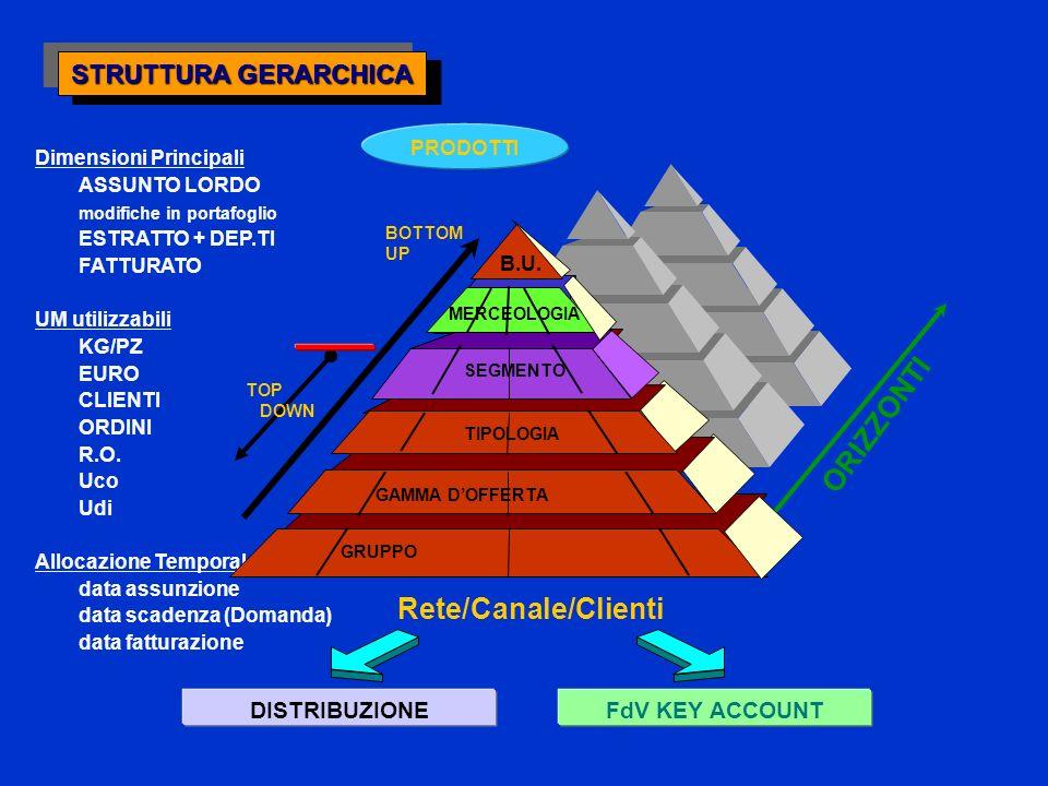 Dimensioni Principali ASSUNTO LORDO modifiche in portafoglio ESTRATTO + DEP.TI FATTURATO UM utilizzabili KG/PZ EURO CLIENTI ORDINI R.O.