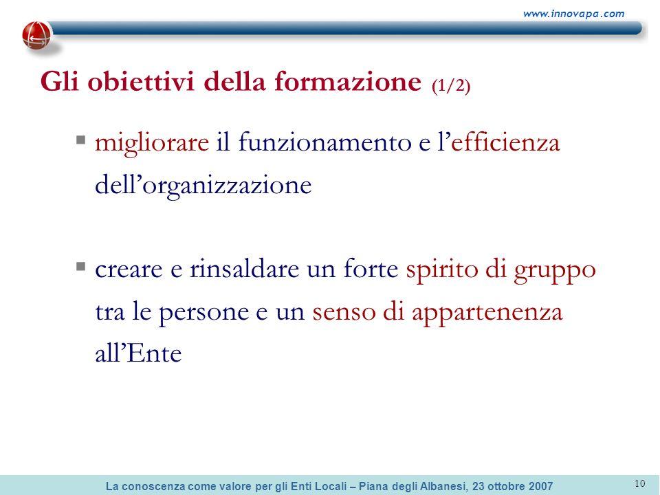 La conoscenza come valore per gli Enti Locali – Piana degli Albanesi, 23 ottobre 2007 www.innovapa.com 10 Gli obiettivi della formazione (1/2) miglior