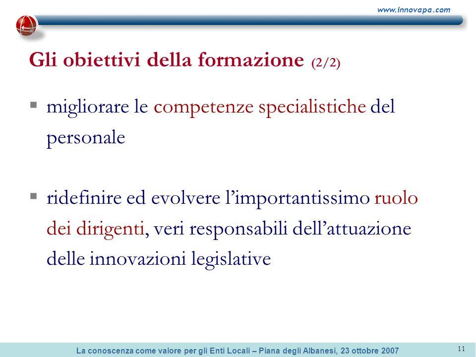La conoscenza come valore per gli Enti Locali – Piana degli Albanesi, 23 ottobre 2007 www.innovapa.com 11 Gli obiettivi della formazione (2/2) miglior