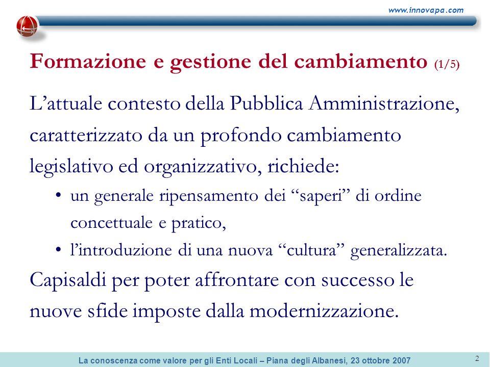 La conoscenza come valore per gli Enti Locali – Piana degli Albanesi, 23 ottobre 2007 www.innovapa.com 2 Formazione e gestione del cambiamento (1/5) L