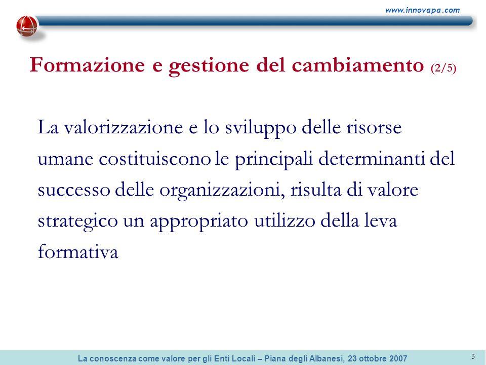 La conoscenza come valore per gli Enti Locali – Piana degli Albanesi, 23 ottobre 2007 www.innovapa.com 3 Formazione e gestione del cambiamento (2/5) L