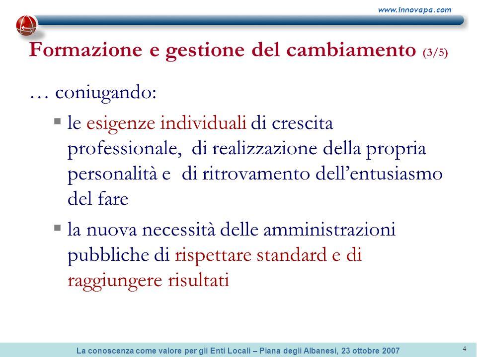 La conoscenza come valore per gli Enti Locali – Piana degli Albanesi, 23 ottobre 2007 www.innovapa.com 4 Formazione e gestione del cambiamento (3/5) …