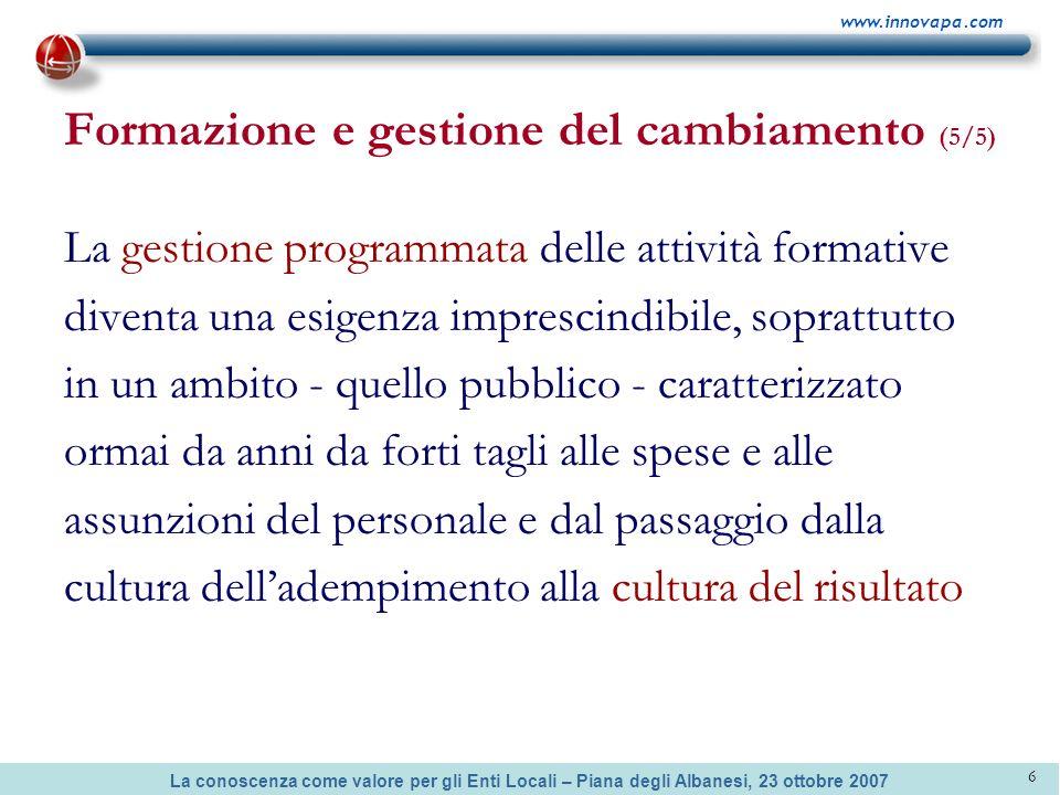 La conoscenza come valore per gli Enti Locali – Piana degli Albanesi, 23 ottobre 2007 www.innovapa.com 6 Formazione e gestione del cambiamento (5/5) L