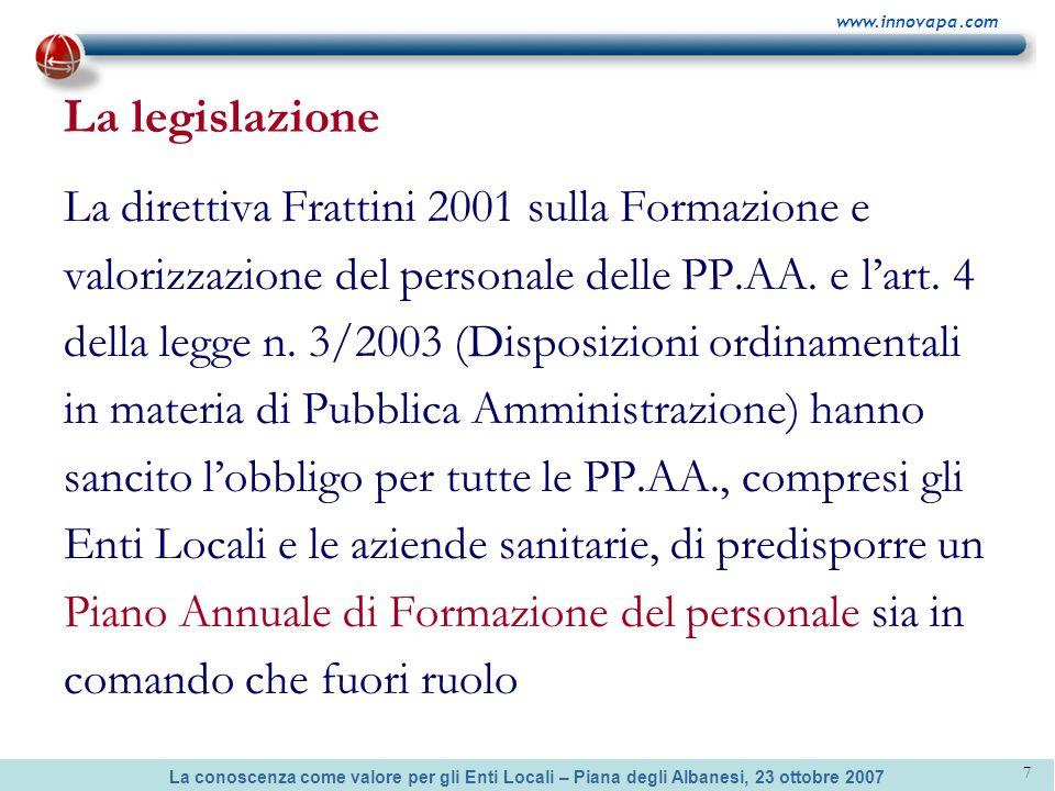 La conoscenza come valore per gli Enti Locali – Piana degli Albanesi, 23 ottobre 2007 www.innovapa.com 7 La legislazione La direttiva Frattini 2001 su