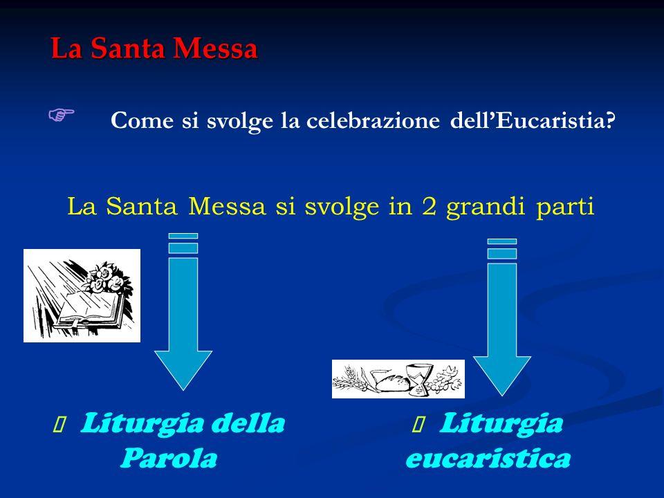 La Santa Messa Come si svolge la celebrazione dellEucaristia? La Santa Messa si svolge in 2 grandi parti Liturgia della Parola Liturgia eucaristica