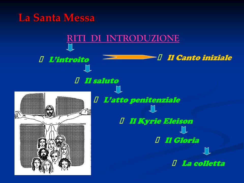 La Santa Messa RITI DI INTRODUZIONE Lintroito Il saluto Latto penitenziale Il Kyrie Eleison Il Gloria La colletta Il Canto iniziale