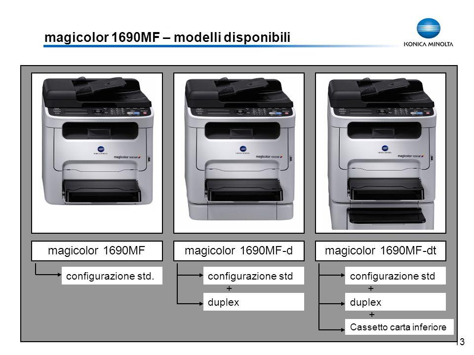 13 magicolor 1690MF – modelli disponibili magicolor 1690MFmagicolor 1690MF-dmagicolor 1690MF-dt configurazione std duplex Cassetto carta inferiore + +