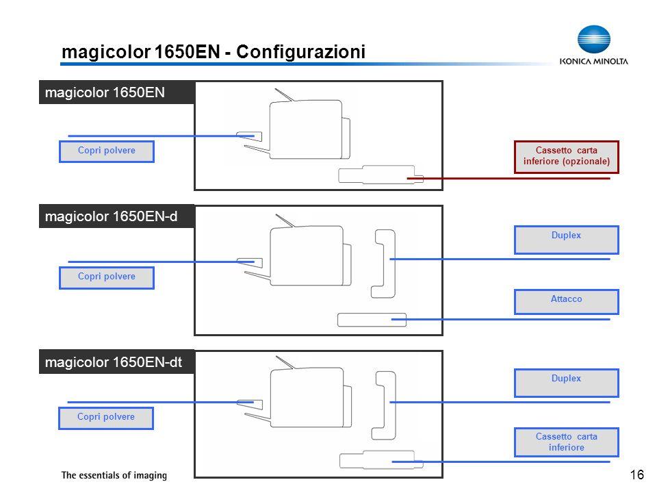 16 magicolor 1650EN - Configurazioni Duplex Attacco magicolor 1650EN Copri polvere magicolor 1650EN-d magicolor 1650EN-dt Cassetto carta inferiore (op
