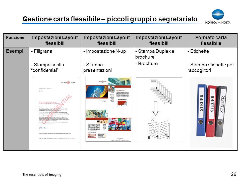 26 Gestione carta flessibile – piccoli gruppi o segretariato Funzione Impostazioni Layout flessibili Formato carta flessibile Esempi- Filigrana - Stam