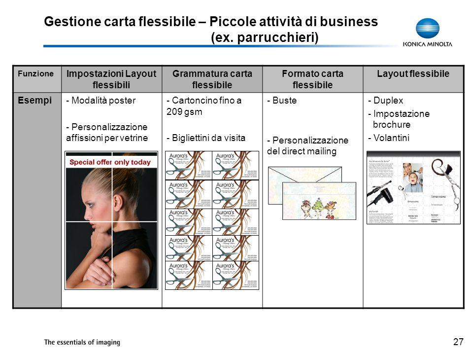 27 Gestione carta flessibile – Piccole attività di business (ex. parrucchieri) Funzione Impostazioni Layout flessibili Grammatura carta flessibile For