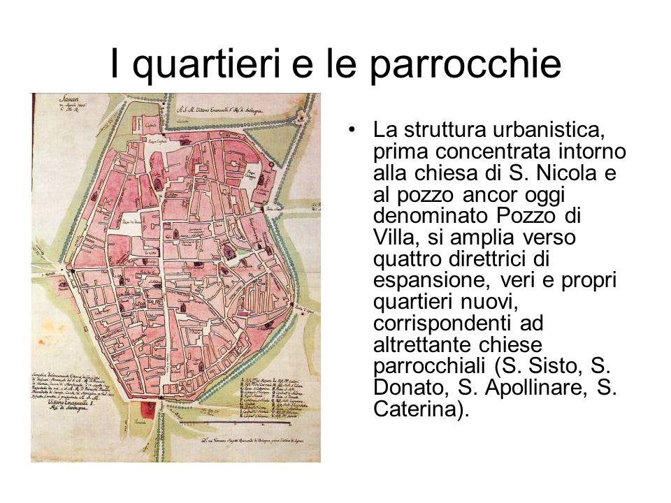 I quartieri e le parrocchie La struttura urbanistica, prima concentrata intorno alla chiesa di S. Nicola e al pozzo ancor oggi denominato Pozzo di Vil