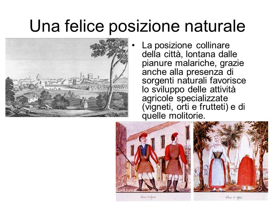 Una felice posizione naturale La posizione collinare della città, lontana dalle pianure malariche, grazie anche alla presenza di sorgenti naturali fav
