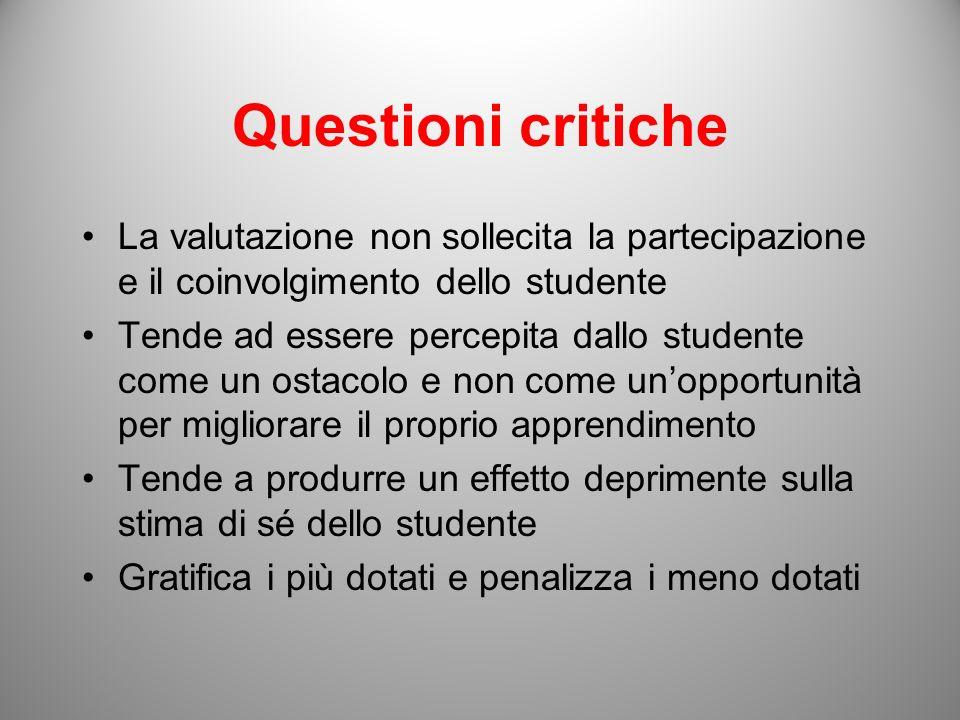 Questioni critiche La valutazione non sollecita la partecipazione e il coinvolgimento dello studente Tende ad essere percepita dallo studente come un