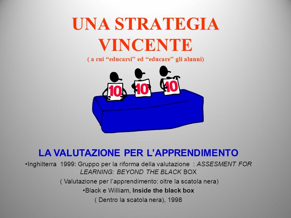 UNA STRATEGIA VINCENTE ( a cui educarsi ed educare gli alunni) LA VALUTAZIONE PER LAPPRENDIMENTO Inghilterra 1999: Gruppo per la riforma della valutaz
