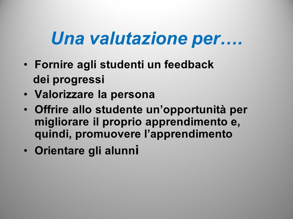 Una valutazione per…. Fornire agli studenti un feedback dei progressi Valorizzare la persona Offrire allo studente unopportunità per migliorare il pro