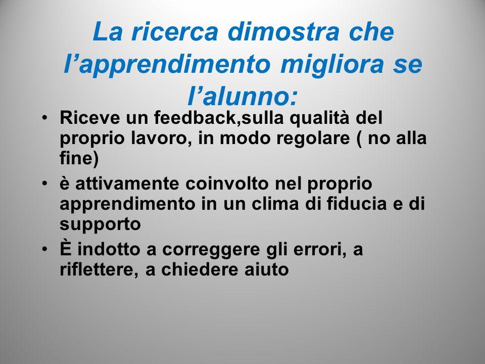 La ricerca dimostra che lapprendimento migliora se lalunno: Riceve un feedback,sulla qualità del proprio lavoro, in modo regolare ( no alla fine) è at
