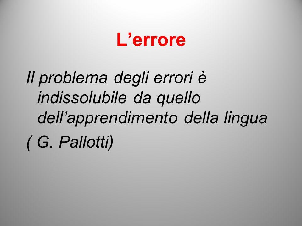 Lerrore Il problema degli errori è indissolubile da quello dellapprendimento della lingua ( G. Pallotti)