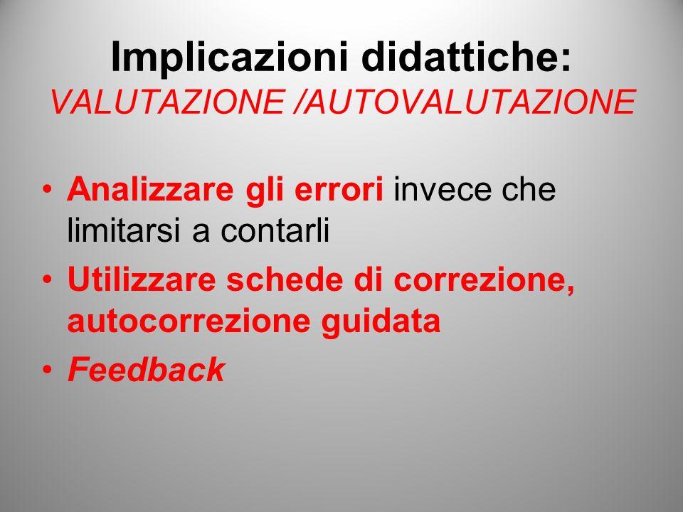Implicazioni didattiche: VALUTAZIONE /AUTOVALUTAZIONE Analizzare gli errori invece che limitarsi a contarli Utilizzare schede di correzione, autocorre
