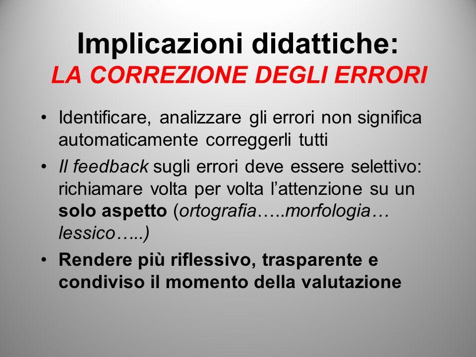 Implicazioni didattiche: LA CORREZIONE DEGLI ERRORI Identificare, analizzare gli errori non significa automaticamente correggerli tutti Il feedback su